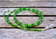 Brillenkette grün / braun von Unbehauen - Schmuckdesign auf DaWanda.com