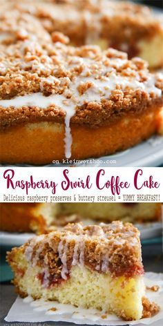 Raspberry Swirl Coffee Cake is a delectable breakfast cake recipe swirled with sweet raspberry preserves & topped with buttery streusel & sugar glaze. YUM! AD #SayItWithHomemade #BonneMaman @bonnemamanus