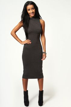 Billie High Neck Sleeveless Midi Bodycon Dress  Product code: azz58084    US$20.00