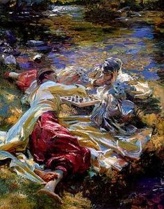 """The Chess Game"" -John Singer Sargent.  Ah the colors..."