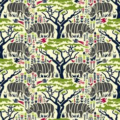 Rhinoceros Fabric - Dark Rhinoceros By Mag-O - Wild Zoo Animal Kids Rino  Fabric By The Yard With Spoonflower by Spoonflower on Etsy https://www.etsy.com/ca/listing/500441470/rhinoceros-fabric-dark-rhinoceros-by-mag