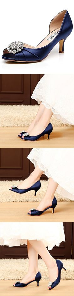 LUXVEER Sexy Women Shoes Wedding Shoes with Rhinestone Bridal Kitten Low Heel 2.5inch -RS-2065 (10, Dark Blue)