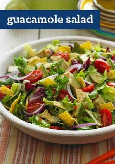 Guacamole Salad – Move the bowl of guac and chips off the snack table to make room for this bright and crisp salad with avocado, tomatoes, lettuce and a dash of fresh lime juice.
