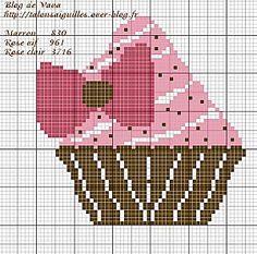 Cupcake Cross Stitch, Cute Cross Stitch, Cross Stitch Kits, Cross Stitch Designs, Cross Stitch Patterns, Cross Stitching, Cross Stitch Embroidery, Beading Patterns, Embroidery Patterns