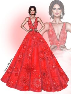Sara Sampaio in ZUHAIR MURAD at #cannes2017 #digitaldrawing by David Mandeiro Illustrations Wacom