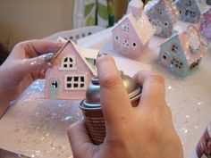 GLITTER HOUSE ORNAMENTS | Then use spray adhesive and sprinkle larger iridescent glitter all ...