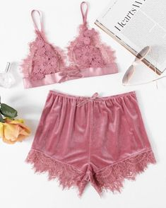 To find out about the Applique Detail Lace Bralette & Velvet Shorts Set at SHEIN, part of our latest Sexy Lingerie ready to shop online today! Jolie Lingerie, Lingerie Outfits, Pretty Lingerie, Sexy Lingerie, Lingerie Sets, Luxury Lingerie, Lingerie For Sale, Designer Lingerie, Lingerie Models