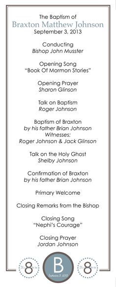 Personalized LDS Baptism Printable Program for Boys by MeckMom