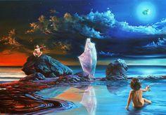 """Une Vision """" postapocalyptique """", des restes de pétrole dans la mer... Un nouvel EDEN, porteur d'espoir, le principe masculin Yang, solaire,..."""