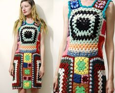 Crochet GRANNY SQUARE Dress Colourful Rainbow Knit by cruxandcrow