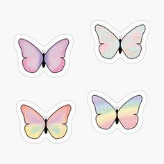 'Pastel Butterflies Pack' Glossy Sticker by Preppy Stickers, Cute Laptop Stickers, Pop Stickers, Tumblr Stickers, Kawaii Stickers, Printable Stickers, Journal Stickers, Scrapbook Stickers, Aesthetic Stickers