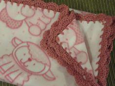 Animals Print Fleece Baby Girl Blanket With Pink Shell Crochet Edge Sheep Elephant Pig Bear by UnhungHarps on Etsy