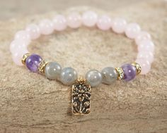 Pulsera de cuarzo rosa labradorita pulsera pulsera Lotus