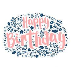 texte Joyeux anniversaire avec motif floral dans la conception de forme ovale Vecteur gratuit