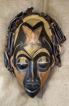 Mask from the Rastafarian people of Ethiopia Contemporary African Art, African Sculptures, Art Africain, African Tribes, Masks Art, African Masks, African Fabric, Tribal Art, Ancient Art