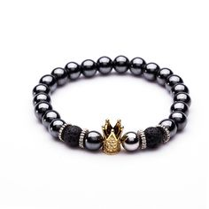 2017 New Charm Trendy Imperial Golden&Black Crown Dumbbells Bracelets Men Natural Stone Beads For Women Men Jewelry Accessories