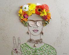 """""""Paz Frida"""" flor da cara impressão"""