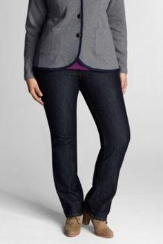 Women's Plus Size Fit 2 Exhale™ Tummy Control Straight Leg 5-pocket Denim Jeans from Lands' End