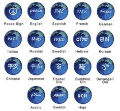 Set of 18 Peace Earth Marbles Representing 18 World Languages - 22mm