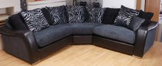 DEVELOPMENT BLACK LEATHER CHARCOAL FABRIC 3 PIECE CURVED CORNER GROUP (250) £699
