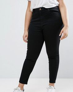 Black, plus-size skinny jeans, appropriate for mature women