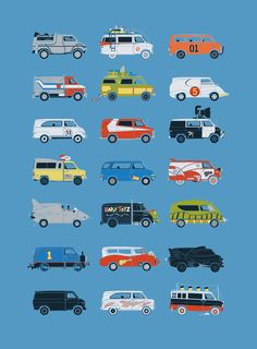 """""""It Would Have Been Cooler as a Van"""" is a wonderful series of illustrations by Brandon Ortwein where he reimagines famous vehicles in the form of vans. [via Flavorwire] Film Cars, Movie Cars, Cute Cars, Funny Cars, Car Makes, Transport, Car Pictures, Car Pics, Funny Pictures"""