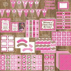 Items similar to Cowgirl Cupcake Toppers girls Printable birthday Party Circles hot pink pink brown bandana gingham boots personalized baby shower diy on Etsy Horse Birthday Parties, Cowgirl Birthday, Cowgirl Party, Birthday Party Decorations, 5th Birthday, Birthday Ideas, Party Themes, Happy Birthday, Cow Girl