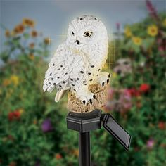 Solar White Owl   Add Decorative Glow To Your Garden Décor With This  Energy Efficient