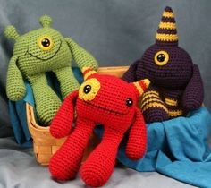 Colorful crochet monsters....