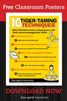 Free printable poster: Help students eliminate stress and pressure with 10 Tiger-Taming Techniques.