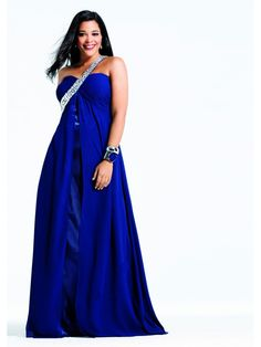 A-line Beaded One Shoulder Strap Long Blue Chiffon Plus Size Prom / Evening / Formal / Party Maternity Dresses 2401035