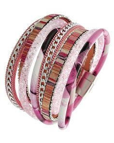 Rhodiumized / Pink / Leather & Glass Crystal / Lead Compliant / Magnetic Closure / Wrap / Bracelet