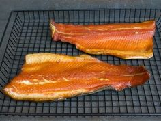 Smoked rainbow trout on rack