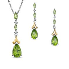 Pear-Shaped Peridot and Diamond Accent Pendant and Earrings Set in Sterling Silver and 14K Gold - Zales