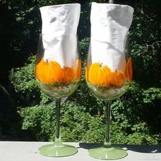 Pumpkin Harvest hand painted wine glasses by GlassesbyJoAnne, $40.00