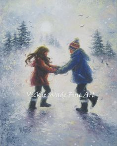 Snow Play Boy and Girl Art Print brother by VickieWadeFineArt