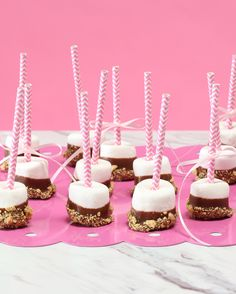 These S'More Marshmallow Pops are guaranteed to be the most popular dessert at your baby or bridal shower. Use colorful or patterned straws to match your party theme.