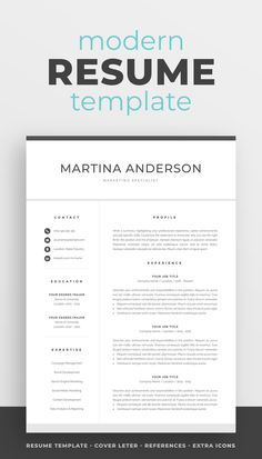 Modern Resume Template for Word & Mac Pages One Page Resume Template, Student Resume Template, Modern Resume Template, Creative Resume Templates, Creative Cv, Cover Letter For Resume, Cover Letter Template, Resume References, Microsoft Word 2007
