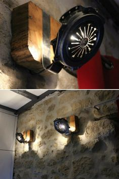Wall Sconce Farmhouse Lighting with Clutch Parts - Wall Lamps & Sconces, Wood Lamps - Nice homemade wall Sconce made From clutch parts and wood, cosy modern farmhouse lighting with a rustic wall. Vintage Wall Sconces, Rustic Wall Sconces, Bathroom Wall Sconces, Modern Wall Sconces, Candle Wall Sconces, Outdoor Wall Sconce, Wall Sconce Lighting, Modern Farmhouse Lighting, Traditional Wall Sconces