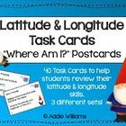 LATITUDE & LONGITUDE ACTIVITIES - Three sets of task cards to help students practice finding locations with a set of latitude and longitude coo...
