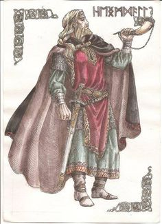 Heimdallr, el dios guardián en la mitología nórdica. Es hijo de Odín y de nueve mujeres gigantes que lo nutrieron con sangre de jabalí. Poseía una vista aguda, un fino oído y podía estar sin dormir varios días. Pero en cambio, no podía hablar. Su percepción era tan extraordinaria que oía crecer la hierba, razón por la cual se le designó guardián de la morada de los dioses, Asgard, y del Bifrost, el arco iris que hace de puente hasta ella.