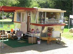 is this not awesome!  1961 Holiday House Trailer, only made 2 years and SO cool.  This one sold for 16,900!!!!!