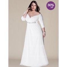 Off-the-Shoulder Plus Size Wedding Gown with Sleeves PS104 Styly Svatebních  Šatů 2546e495c0