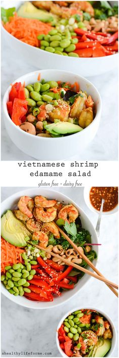 Vietnamese Shrimp Edamame Salad is a bonanza of healthy delicious flavors. Gluten free, dairy free and packed with tons of vegetables and healthy protein. - A Healthy Life For Me
