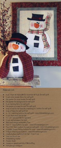 Chubby snowman and wall quilt...I love snowmen. Lots of great patterns to order on this site!