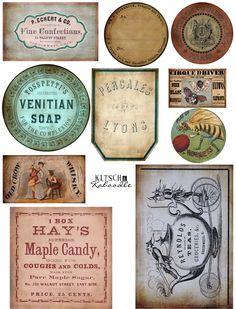 Digital Collage Sheet Vintage Labels by KKDigitalBoutique Vintage Labels, Vintage Ephemera, Vintage Cards, Printable Labels, Printable Paper, Printable Vintage, Image Deco, Etiquette Vintage, Foto Transfer