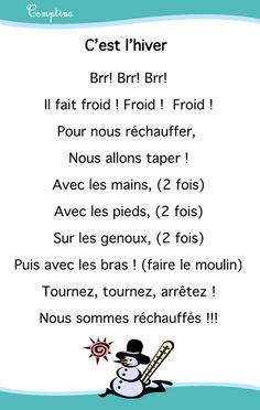Comptines chansons hiver - Assistante Maternelle Argenteuil - Orgemont Additionally, I am some sort of French Teacher, Teaching French, French Poems, French Education, Nursery Rhymes Songs, Core French, French Classroom, Kindergarten Lesson Plans, French Immersion