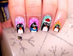 Christmas Penguins - Nail Art Gallery nailartgallery.nailsmag.com by www.nailsmag.com