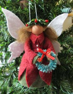 Christmas Ornament - Christmas Fairy, Clothespin, Felt, Made to Order Christmas Fairy, Felt Christmas, Christmas Angels, Christmas Projects, Holiday Crafts, Handmade Ornaments, Christmas Tree Ornaments, Christmas Decorations, Elf Decorations