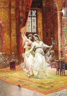 Handmade oil painting reproduction of Stephan Sedlacek Harem Dancers - on canvas and available in any size or choose another work from more than 250,000 different oil paintings and 25,000 artists. The highest quality paintings and great customer service!